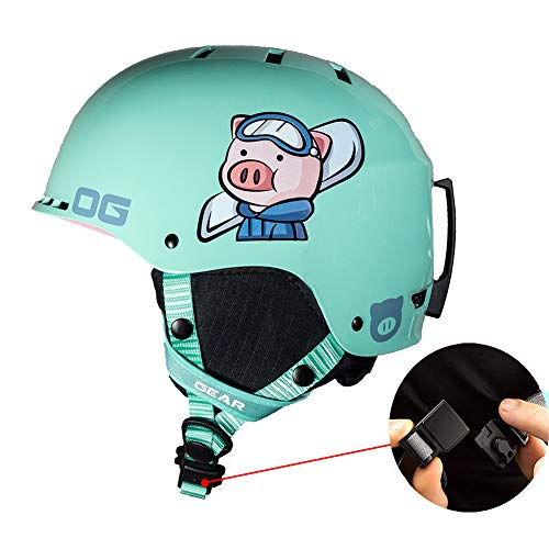 LALEO Süßes Schwein Skihelm für Erwachsenes Kind Herren und Damen, Hohe Qualität Magnetschnalle Atmungsaktiv Einstellbar Ski Snowboard Snowboardhelm Race-Helm, Rosa Grün,Grün,L