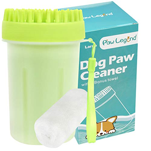 Upgrade 2 in 1 Dog Paw Cleaner & Pet Grooming Brush - Portable Pet Paw Cleaner with Towel,Soft Silicone Dog Foot Washer for Dog Cat Grooming with Muddy Paws (Green,Large)