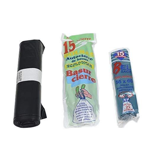 60 rollos de 25 bolsas de basura de color negro 52X6