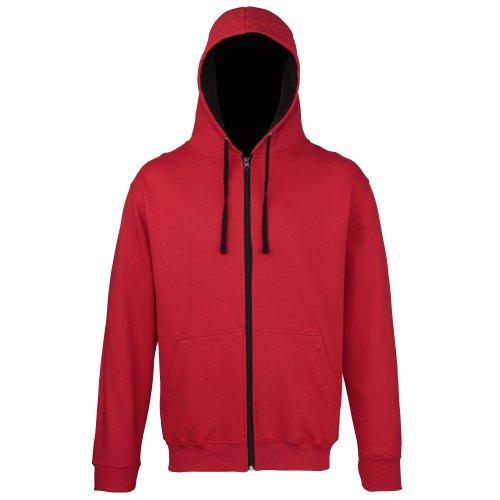 Awdis - Sweatshirt à Capuche et Fermeture zippée - Homme (L) (Rouge feu/Blanc Arctique)