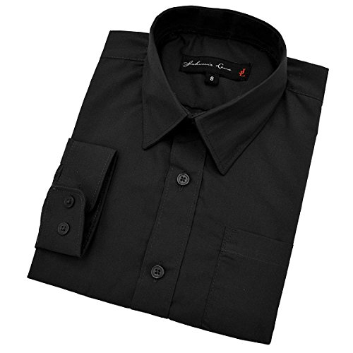 Johnnie Lene Baby Boy's Long Sleeves Solid Dress Shirt #JL32 (24 Months, Black)