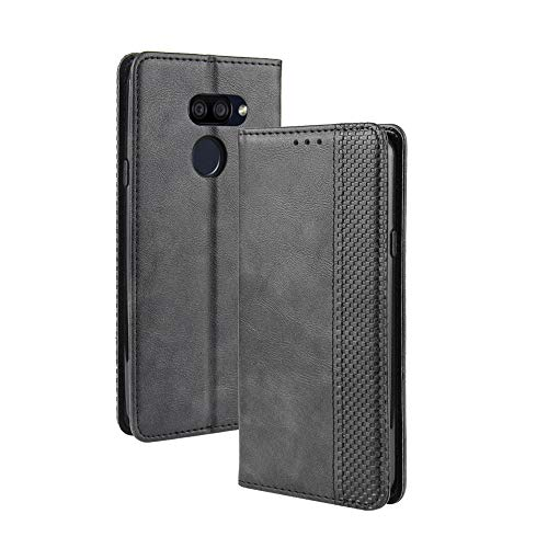FANFO® Standfunktion Hülle kompatibel mit LG K40S, PU Leder Magnetschnalle Schutzhülle Flip Wallet Klapphülle, schwarz