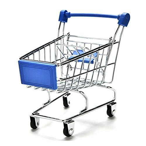 Mini carrito de la compra de metal Carrito de la cesta Supermercado Carretilla de mano Almacenamiento de juguete para niños Organizadores de escritorio Decoración Casa de muñecas Accesorios de muebles