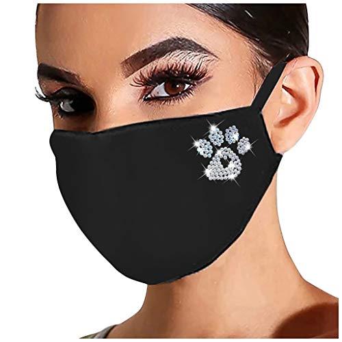 Lomelomme Glänzend Strass Mund Nasenschutz, Damen Waschbar Mundschutz mit Motiv Baumwolle Glitzer Wiederverwendbar Atmungsaktiv Mund und Nasenschutz Stoff