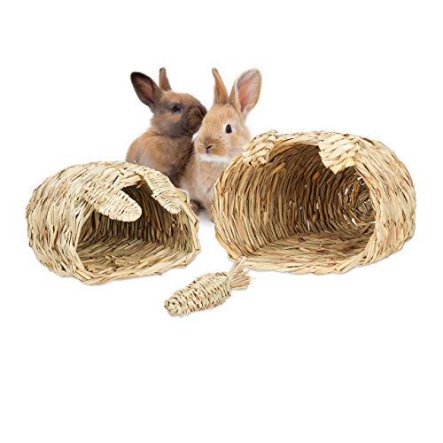 Relaxdays Hasenhaus, 3-teiliges Set, Nagerspielzeug, Zubehör für Kleintiere, 2 Größen, Natur