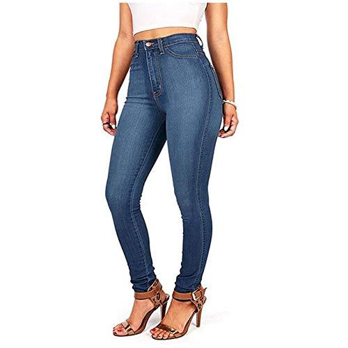 Janly Clearance Sale Pantalones de mujer de cintura alta con bolsillo clásico de cintura alta y pantalones vaqueros ajustados, para Pascua, San Patricio, descuento (azul claro-L)