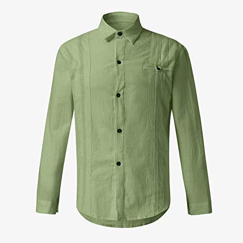 YFSLC-Studio Chemise à Manches Longues pour Homme Style décontracté Vert, m