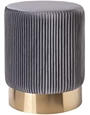 Montemaggi - Puf contenedor de terciopelo con base color oro - Estilo Glam