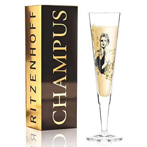 Ritzenhoff Champus - Copa de champán (cristal, 205 ml, incluye servilletas de tela)