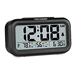 Peakeep Indoor Humidity Temperature Digital Alarm Clock for Bedrooms, Smart Night Light, Battery Operated Small Easy Desk Bedside Gifts Clock (Black)