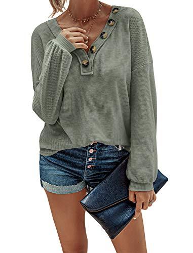WonderBabe Blusas Sueltas de Color Sólido con Cuello en V para Mujer Camisas Henley de Manga Larga Blusas Informales de Punto Tipo Gofre Verde Talla L