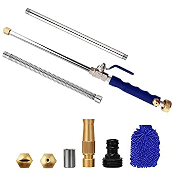 Yiliaw High Pressure Power Washer Wand,Cleaning Wand Watering Wand 38 Inch,Jet Watering Sprayer Flexible Garden Watering Universal Hose End for Gutter Patio Car Pet Window Cleaning Tool Blue