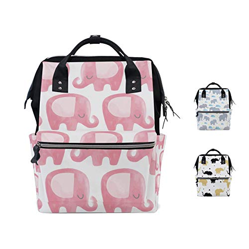 Elephant Pink Diaper Bag Mummy Dad Tote Backpack Travel School Boy Girl Large