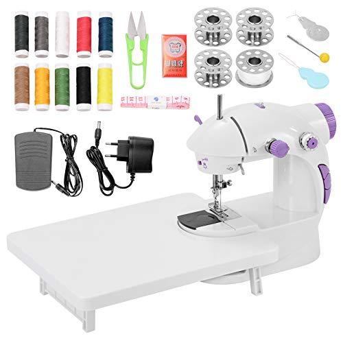 Mini Maquina de Coser Portatil con Kit de Costura y Mesa Extensible con Luz, Maquina Coser para Niñas, Principantes y Experimentados
