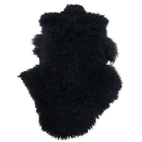 Univok Tibet Lammfell Teppich Deko Schaffell Teppich Fellteppich, Mongolisches Lammfell Tibet ca. 50 x 90 cm (schwarz)
