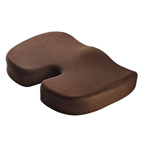 #N/a Cojín de asiento para silla de oficina-almohadilla de espuma de memoria firme de coxis-coxis, ciática, alivio del dolor de espalda baja-para coche, Café