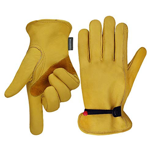 OLSON DEEPAK Leather Working Gloves for Gardening,Thornproof Gardening Gloves for Men and Women (Large)