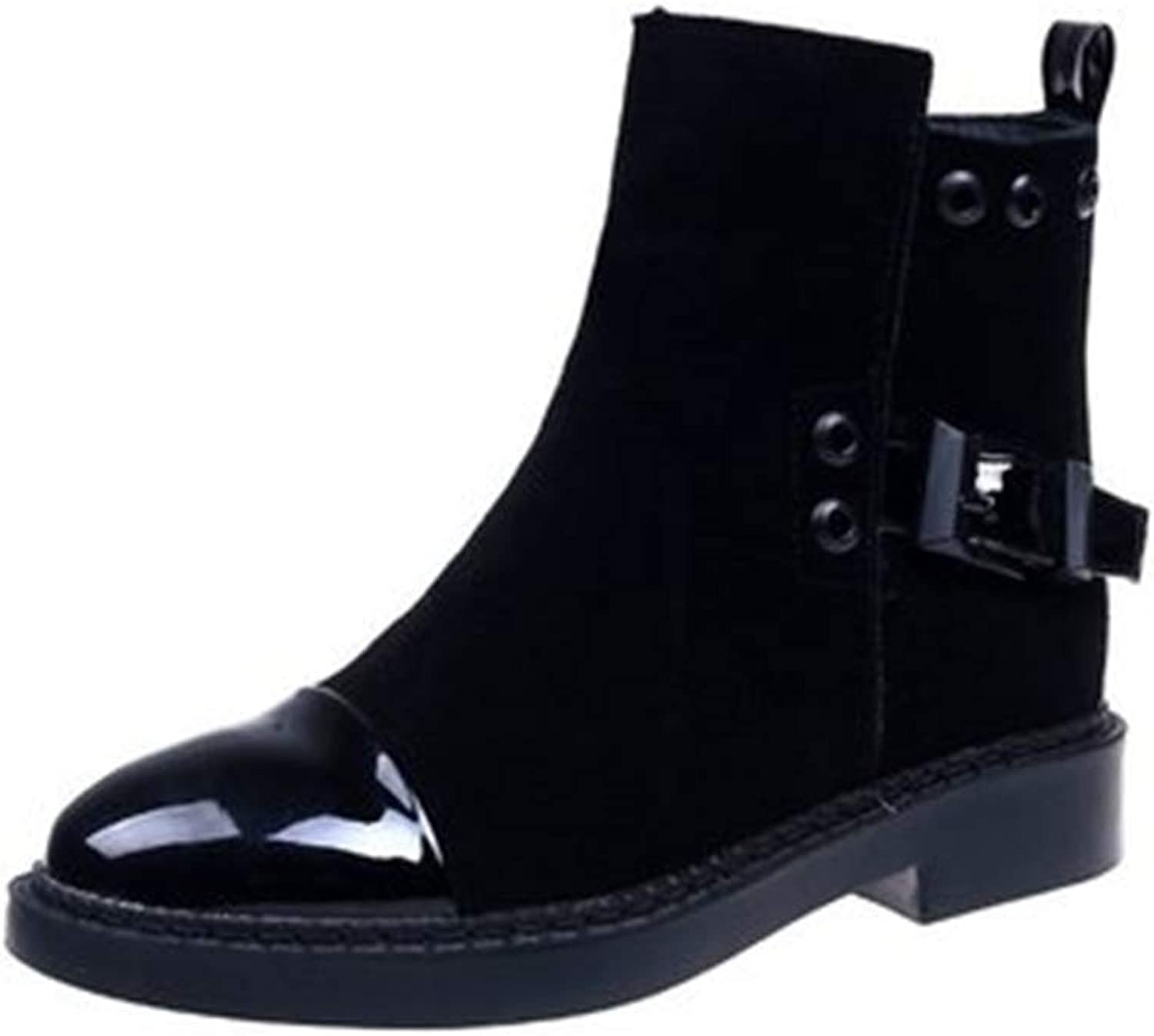 Coollight New Flat Boots Leather Boots with Martin Boots Head Short Tube Boots