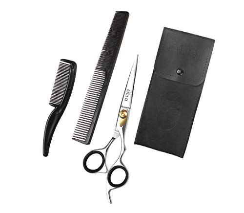 Blades Co Stainless Steel Hair Cutting Scissor Professional Salon Shears For Beard Trimming Mustache And Grooming Hair  65 Inch Barber Scissor For Men And Women With Comb And Pouch