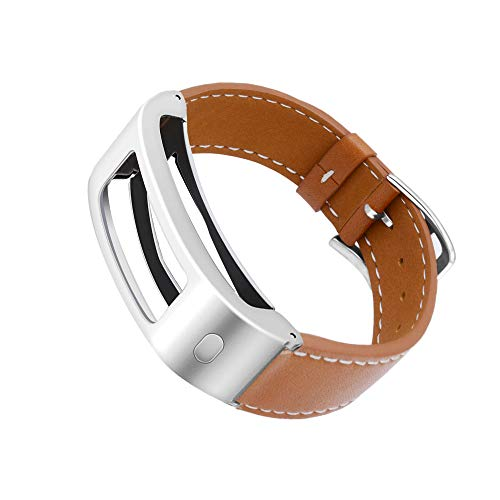 DuiGong Compatible with Garmin Vivofit 1/2 Bands Replacement, Leather Strap with Silver Stainless Steel Hardware - S/M & M/L (Brown)