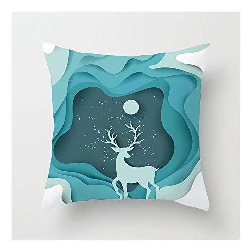 SHUCHANGLE (2pcs/set) Decorazioni Per La Casa Di Natale Abbraccio Federa Verde Ondulato Modello Elk Cuscino Federa Per Auto