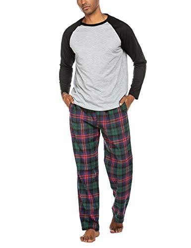 ADOME Herren Schlafanzug Lang Zweiteiliger Weicher Warmer Pyjama Set Rundhals T-Shirt und Karierte Hose, Schwarz, Size s