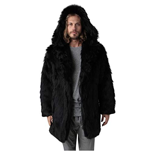 Mens Faux Fur Coat Jackets with Hoodie,OMINA Fashion Winter Thick Parka Outwear Slim Fit Cardigan Overcoat