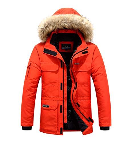 chouyatou Men's Essential Thicken Qulited Lined Fur Hood Ski Down Parka Jacket Coat (Large, Orange)
