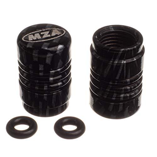 Set Ventilkappe (2 Stück) Alu carbon eloxiert - MZA-Design-Kappe, incl. O-Ringe/Dichtungen