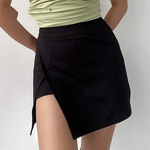Falda Mujer Mini,Falda Acampanada De Talle Alto Negro Split Summer College Style Casual Skater Tenis Falda Lápiz Con Forro De Cremallera Pantalones Cortos Para Niñas Damas En La Playa Fiesta De Va