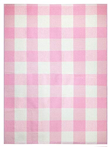 Farmhouse Buffalo Check Plaid Rug: 3x4 Large Front Door Outdoor Mat Best for Layered Under Welcome Entrance Doormat Outside Home Porch Patio - Indoor Entryway Kitchen Area Rugs, Pink Gingham Mats