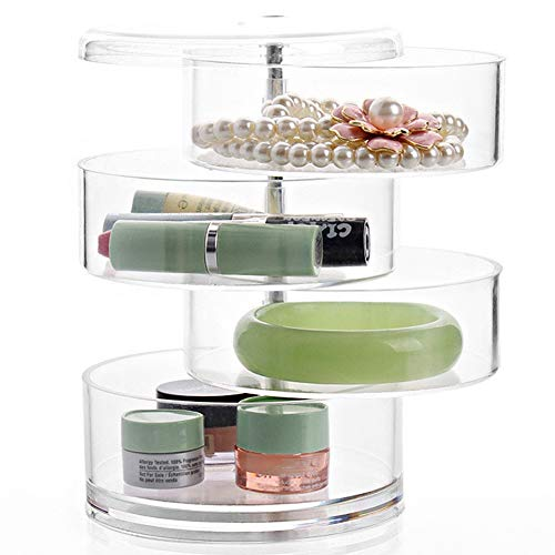 Skysep Jewellery Box,Rotating Transparent Cosmetic Storage 4 Layer Jewelry Box Clear Acrylic Makeup Display Organiser for Storage Females Rings,Bracelets,Hair Rope,Hairpin,Lipstick