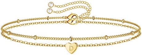 Turandoss Dainty Initial Bracelets for Women 14K Gold Filled Tiny Heart Initial Bracelet for product image