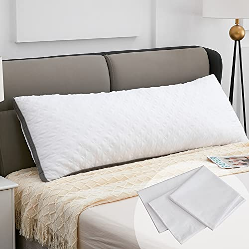 Lipo Quilted Full Body Pillow - Premium Adjustable Pillows for Comfortable Sleep with 100% Cotton Pillowcase - Soft & Supportive for Back and Side Sleepers - White - 21'×54'