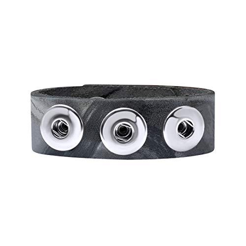 Quiges Damen 18mm Druckknopf Chunk Armband aus Leder Grau Marmor Verstellbar 18.5-20.5cm für Click Buttons