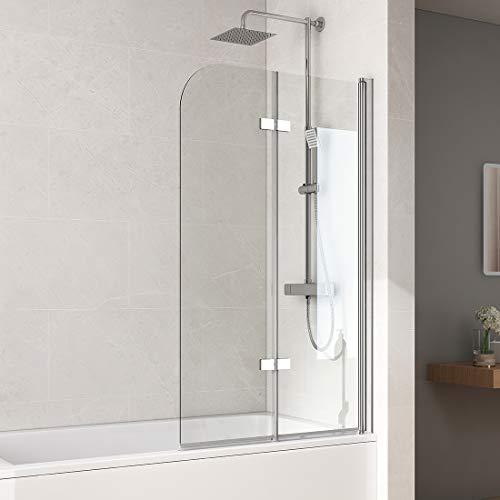 Bath-mann 120x140cm Duschabtrennung Badewannenaufsatz Badewannenfaltwand 6mm Duschwand Badewanne mit Beidseitiger Nanobeschichtung Glas
