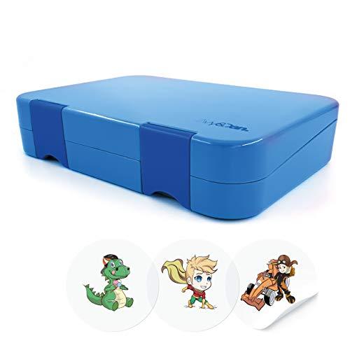 Avy&Dan ® Lunchbox Kinder | nachhaltige Bento Box mit variablen Fächern | kinderfreundliche Brotdose | robuste Kindergarten Jausenbox | perfekt für unterwegs (Blau)