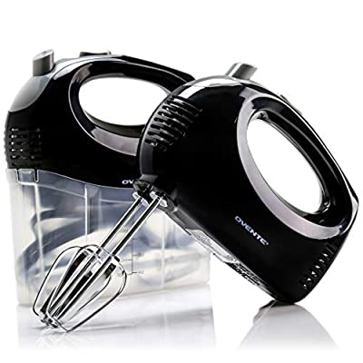 Ovente Electric Hand Mixer with 5 Speed Ultra Mixing Power and Snap-On Storage Case, 2 Stainless Steel Beater Attachments, Compact and Light, 150 Watts Perfect for Home Use, Black (HM151B)