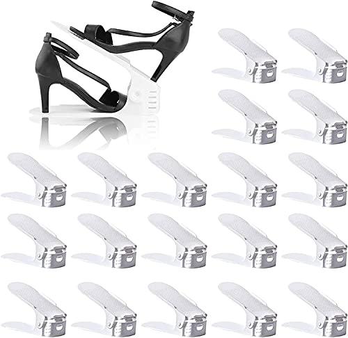 BIGLUFU Organizadores Zapatos, Soporte de Calzado de Altura Ajustable, Zapatero Simple, Adecuada para Mujeres y Hombres, Ahorra Espacio (Set de 20pcs)