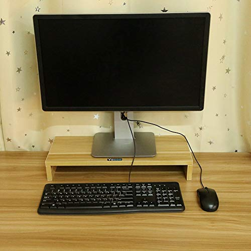 YANGSANJIN Wood Desktop Monitor Stand, TV PC Laptop Computer Screen Riser Stand, 50 x 20 x 7.7cm(WxDxH) (Sandal Wood)