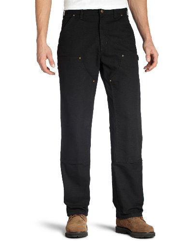 Carhartt Men's Washed Duck Double Front Dungaree, Black, 32W X 30L