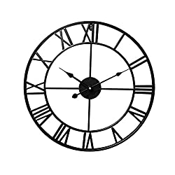 "Lucky Monet 16"" Large Roman Numeral Wall Clock Retro Vintage Round Wall Clock Open Face Mute for Indoor Outdoor Home Décor Office Living Room Café Bar (Black)"