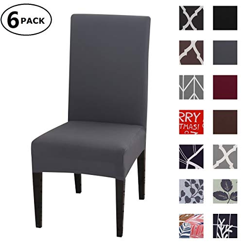 Dining Chair Cover Seat Protector Super Fit Slipcover Stretch Removable Washable Soft Spandex Fabric for Home Hotel Dining Room Ceremony Banquet Wedding Party Restaurant (Color 10, 6 Per Set)