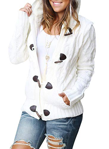 Happy Sailed Womens Hooded Cable Knit Button Down Cardigan Sweaters Coat Fleece Jackets Outwear Tops Plus Size White