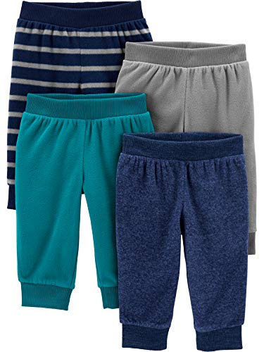 Simple Joys by Carter's 4-Pack Fleece Infant-and-Toddler-Pants, Azul Heather/Rayas, 18 Meses, Pack de 4