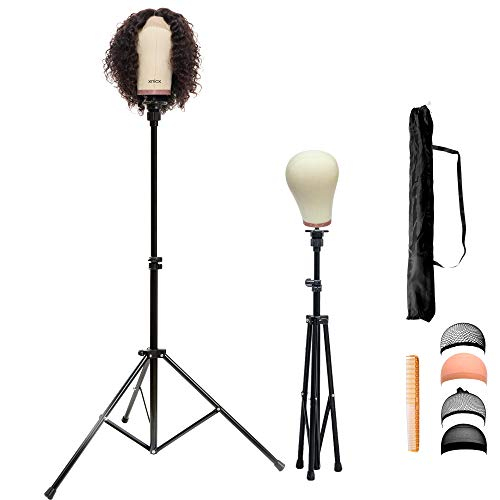 xnicx Wig Stand Mannequin head Tripod Holder Adjustable Canvas Block Head Stand Cosmetology Hairdressing Hair Extensions