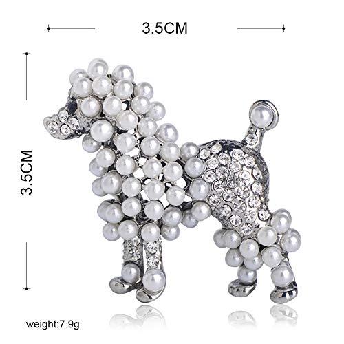 XZROOKEI Volle Nachahmung Perlen Tier Brosche Pins Gold Farbe Schöne Hund Kristall Broschen Für Kind Frauen Geschenk Kleidung Dekoration Silber Farbe