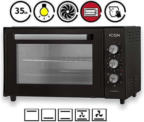 ICQN Minibackofen 35 Liter mit Umluft | Pizza-Ofen | Mini Ofen | Innenbeleuchtung | Doppelverglasung | Timer Funktion | Emailliert Anthrazit