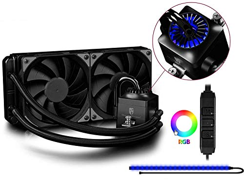 Deepcool Captain 240 EX RGB Sistema di Raffreddamento a Liquido AIO Per Processore AMD Intel CPU Support AM4 2 Ventole da 120 mm PWM con Pompa RGB e Striscia LED RGB