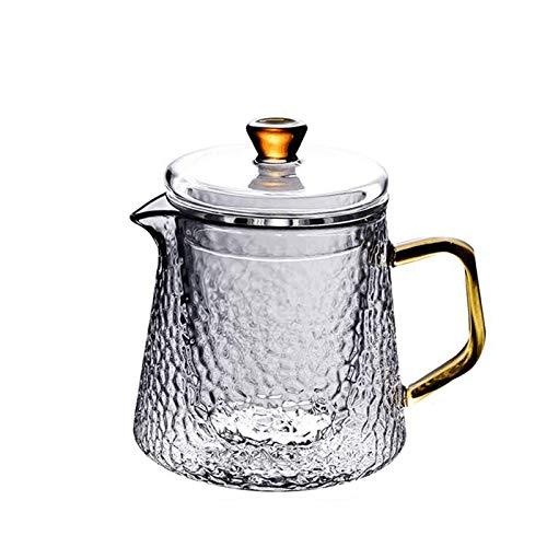 N-B Tetera de cristal de borosilicato transparente 304 de acero inoxidable con filtro resistente al calor de café cuadrado tetera tetera set hogar